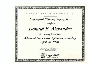 Copperfield Chimney Supply Certification